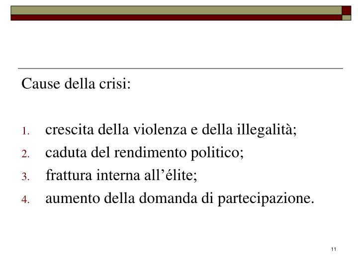 Cause della crisi: