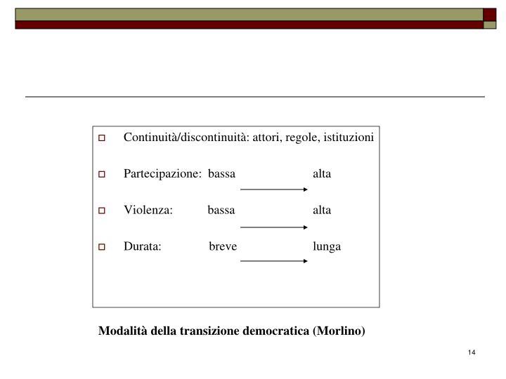 Continuità/discontinuità: attori, regole, istituzioni