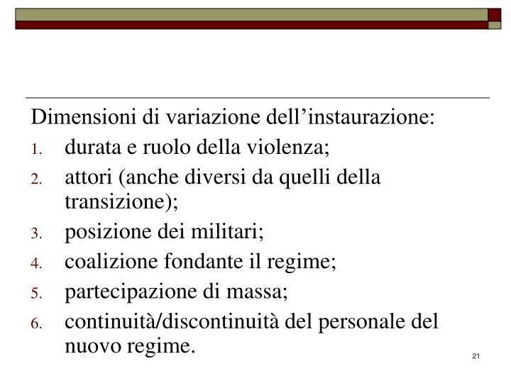 Dimensioni di variazione dell'instaurazione: