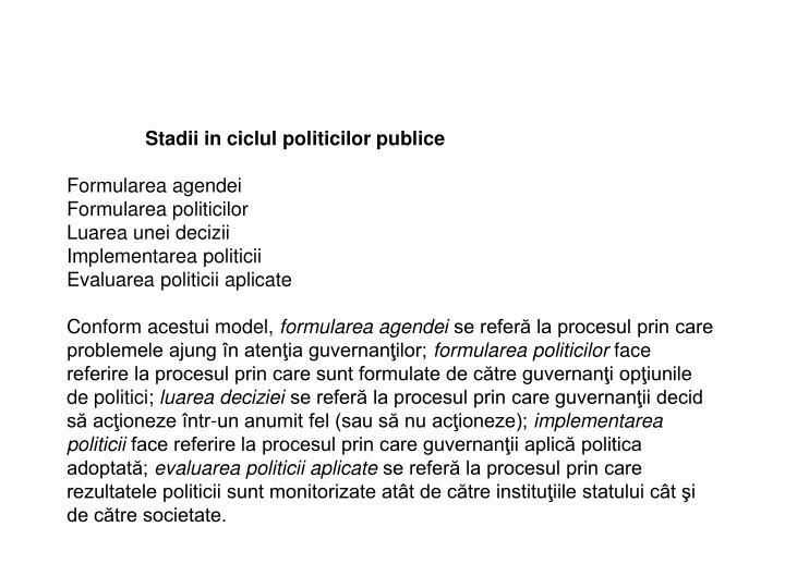 Stadii in ciclul politicilor publice