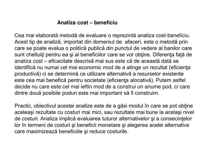 Analiza cost – beneficiu
