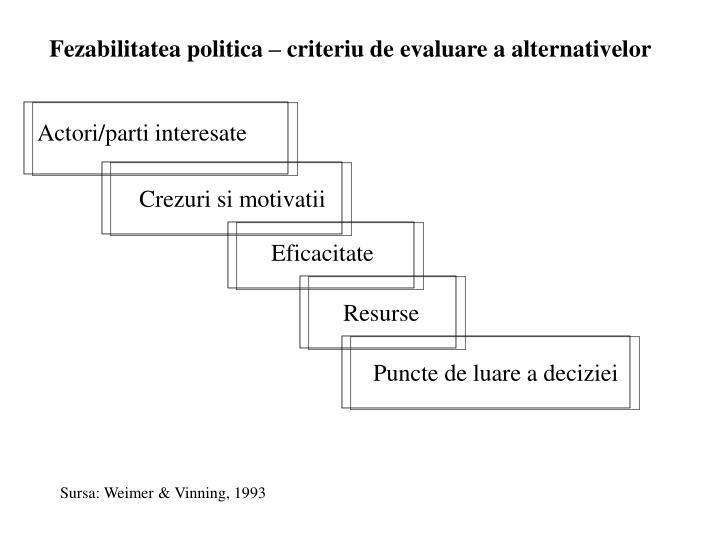 Fezabilitatea politica – criteriu de evaluare a alternativelor