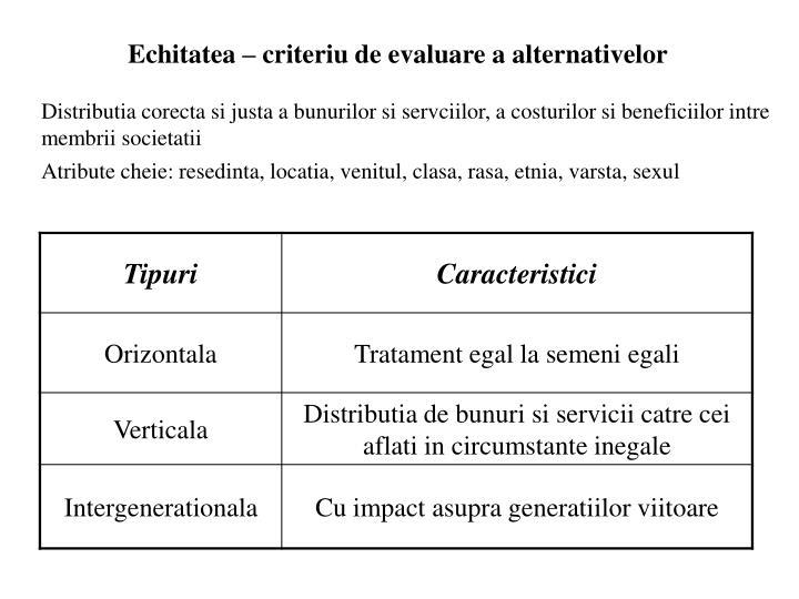 Echitatea – criteriu de evaluare a alternativelor