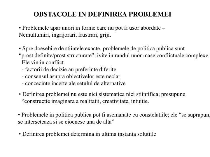 OBSTACOLE IN DEFINIREA PROBLEMEI