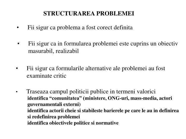 STRUCTURAREA PROBLEMEI