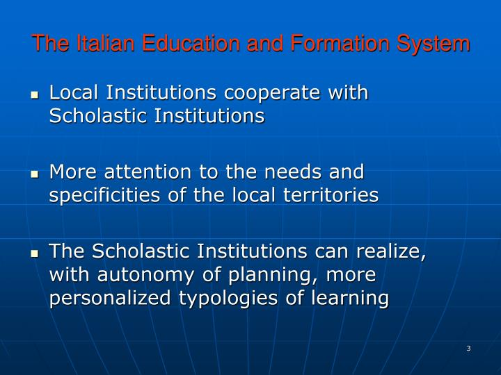 The italian education and formation system1