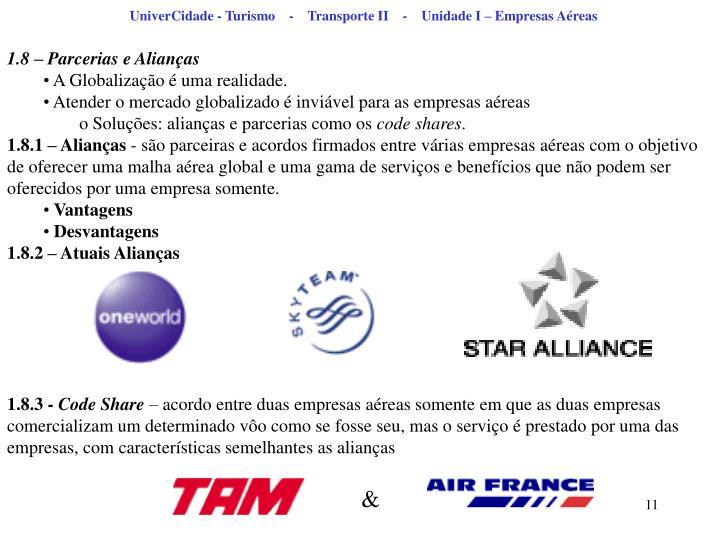 UniverCidade - Turismo    -    Transporte II    -    Unidade I – Empresas Aéreas