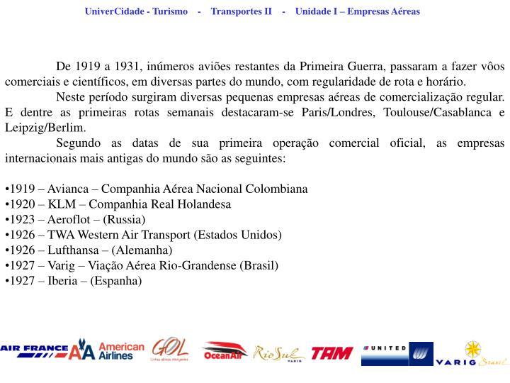 UniverCidade - Turismo    -    Transportes II    -    Unidade I – Empresas Aéreas