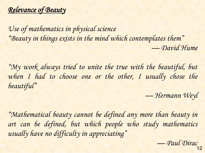 Relevance of Beauty