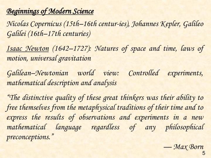 Beginnings of Modern Science