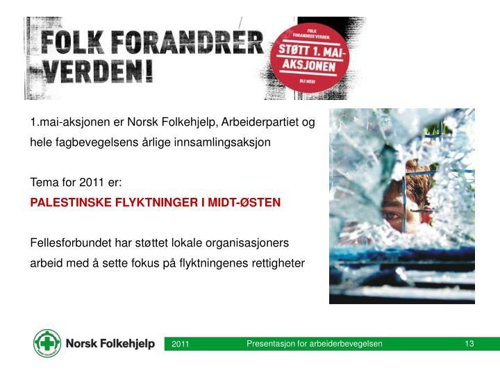 1.mai-aksjonen er Norsk Folkehjelp, Arbeiderpartiet og hele fagbevegelsens årlige innsamlingsaksjon