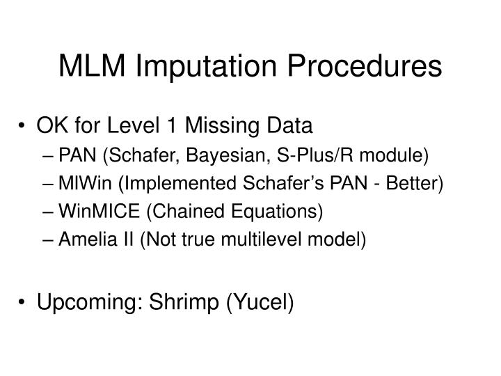 MLM Imputation Procedures