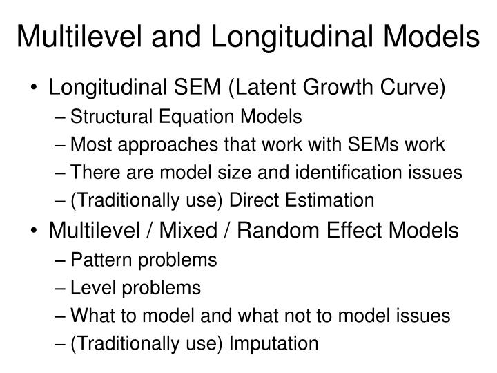 Multilevel and longitudinal models