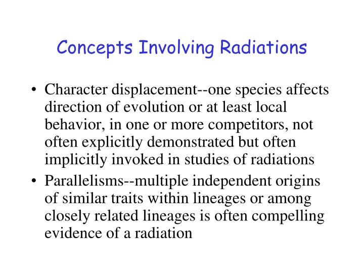 Concepts Involving Radiations