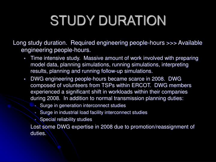 Study duration