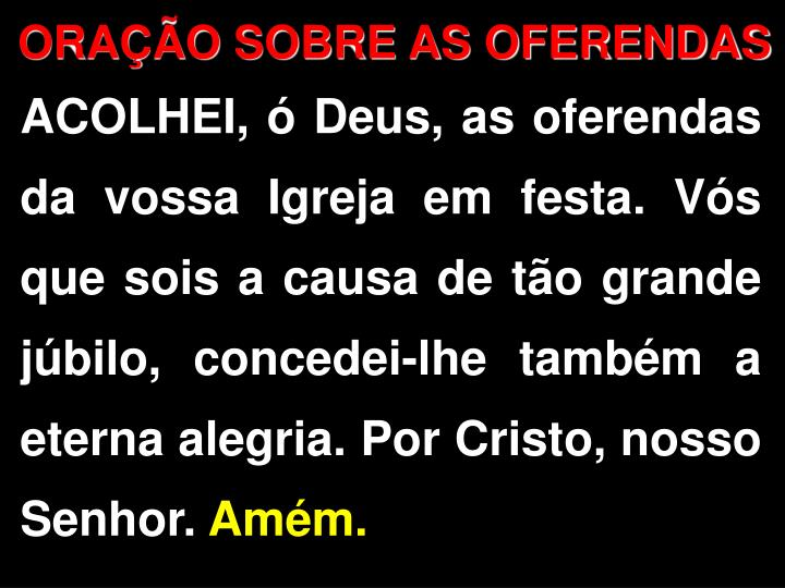 ORAO SOBRE AS OFERENDAS