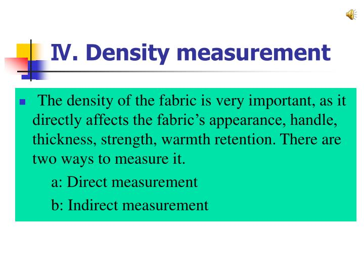 Ⅳ. Density measurement