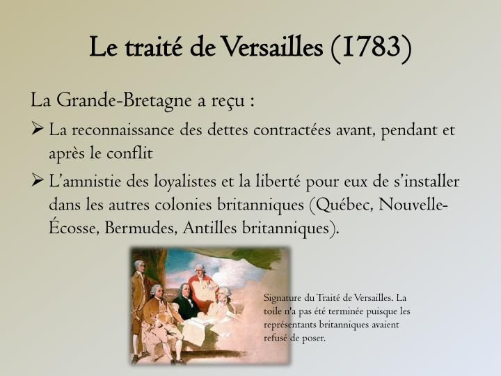 Le traité de Versailles (1783)