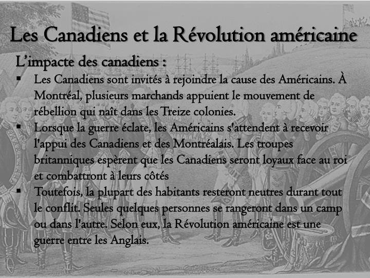 Les canadiens et la r volution am ricaine