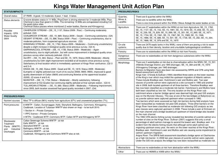 Kings Water Management Unit Action Plan