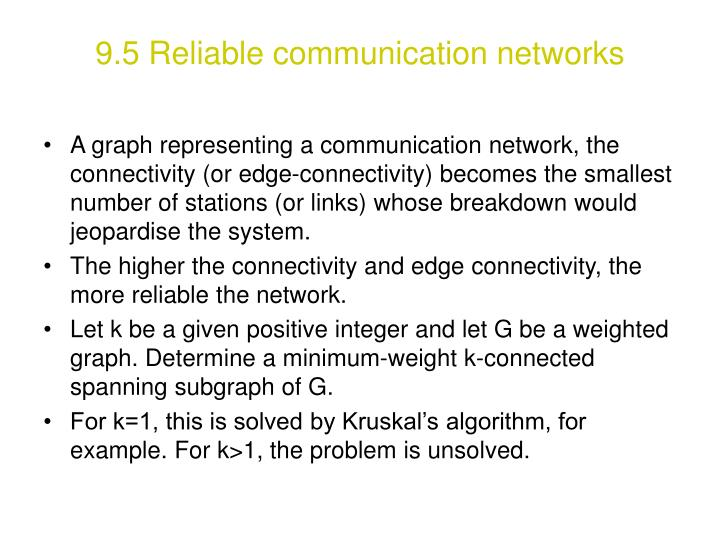 9.5 Reliable communication networks