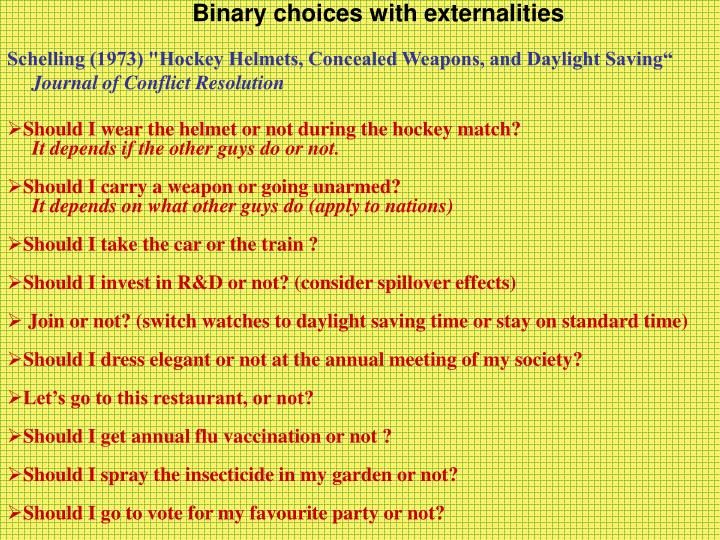 Binary choices with externalities