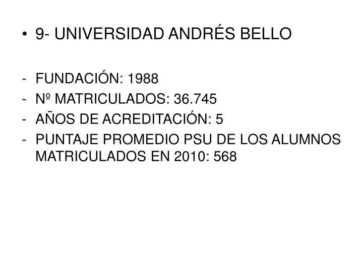 9- UNIVERSIDAD ANDRÉS BELLO