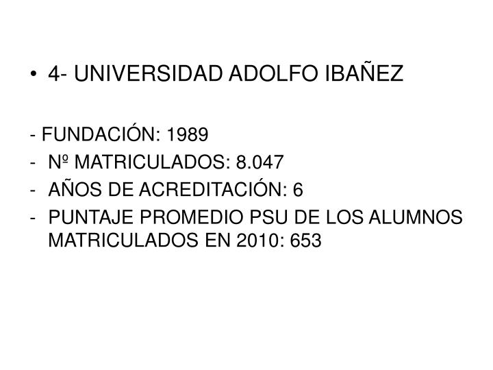 4- UNIVERSIDAD ADOLFO IBAÑEZ