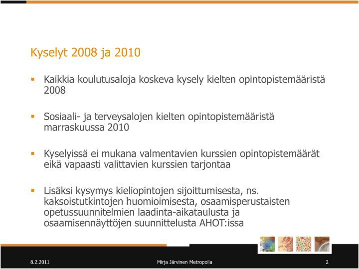 Kyselyt 2008 ja 2010