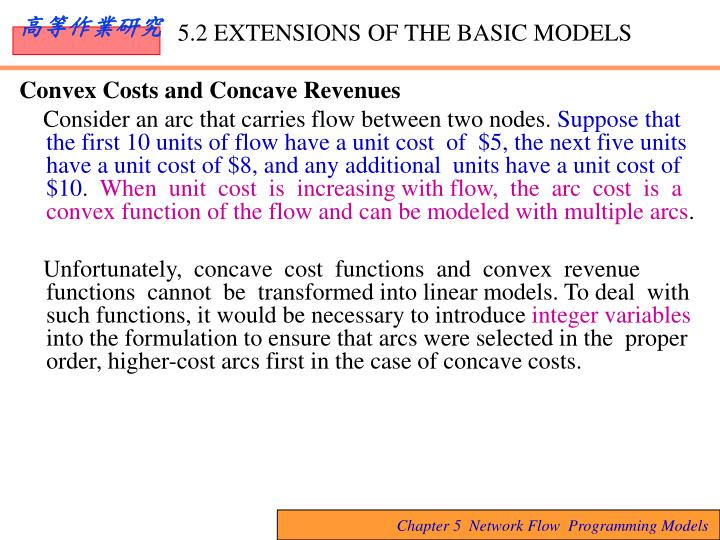 Convex Costs and Concave Revenues