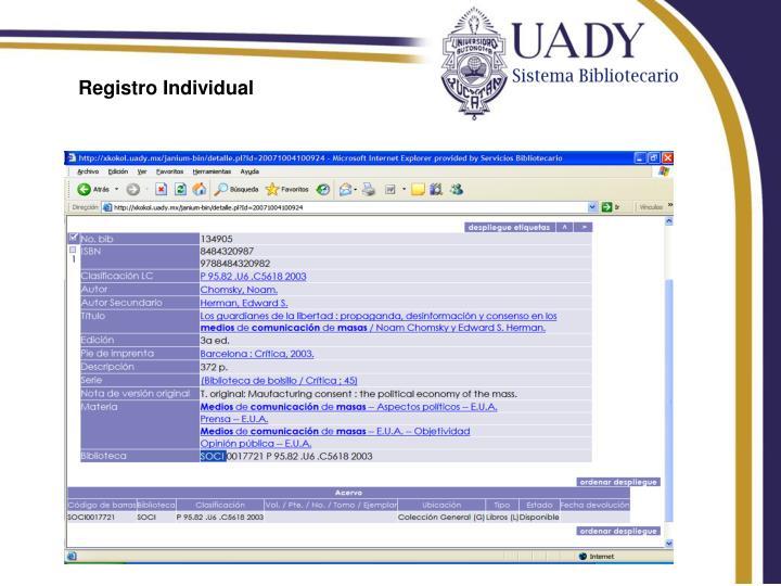 Registro Individual