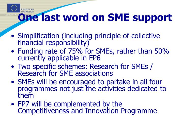 One last word on SME support