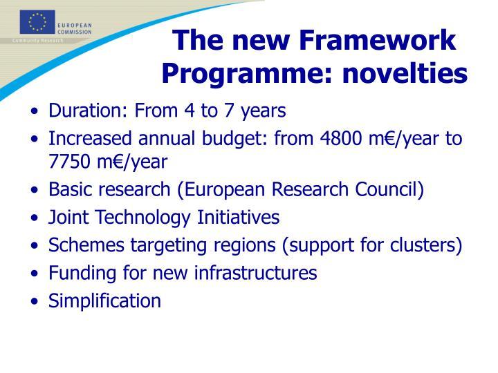 The new Framework Programme: novelties