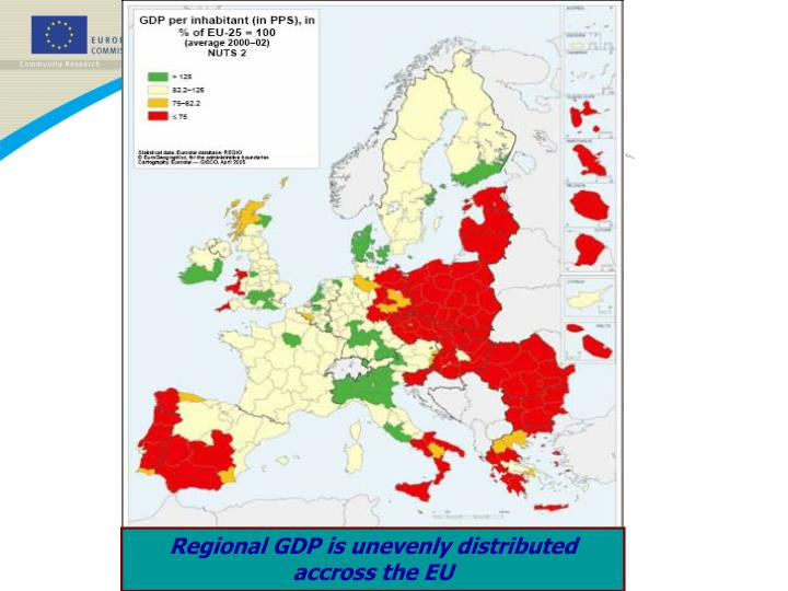 Regional GDP is unevenly distributed accross the EU