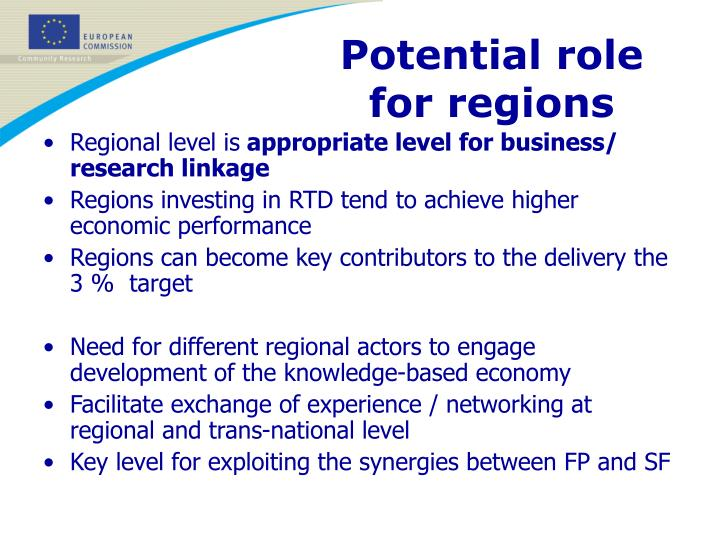 Potential role for regions