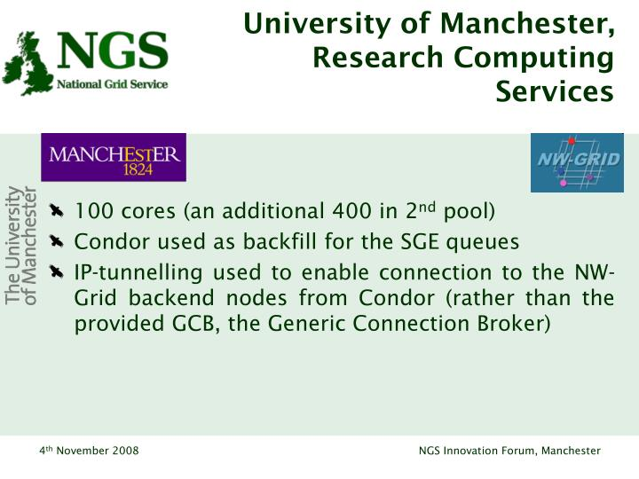 University of Manchester, Research Computing Services