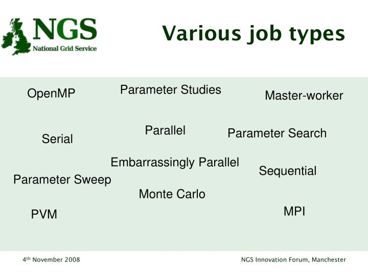 Various job types