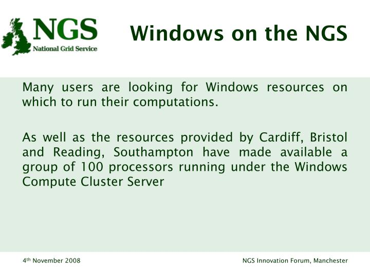 Windows on the NGS