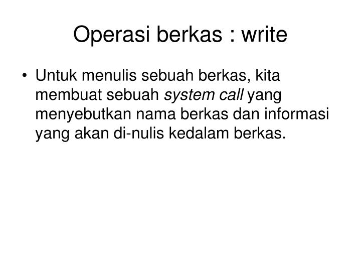 Operasi berkas : write