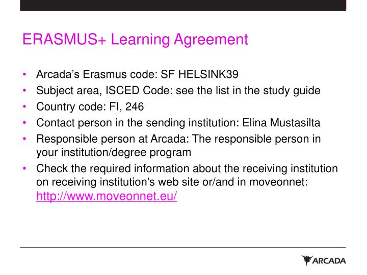 Erasmus learning agreement1