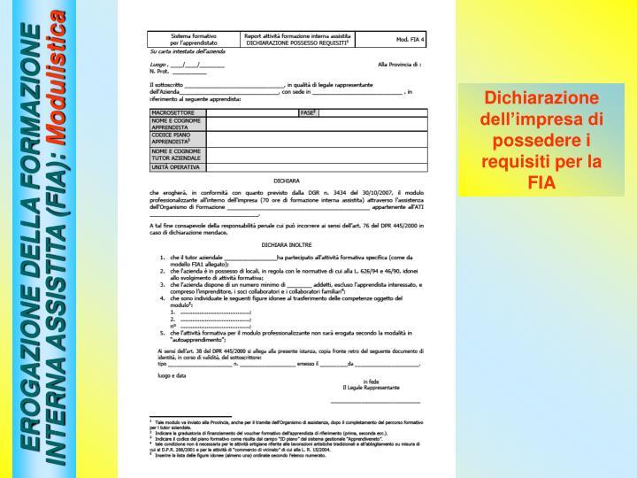 EROGAZIONE DELLA FORMAZIONE INTERNA ASSISTITA (FIA):