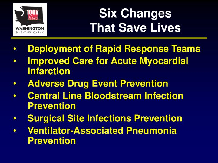 Six Changes                That Save Lives