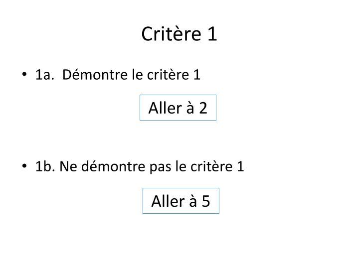 Critère 1