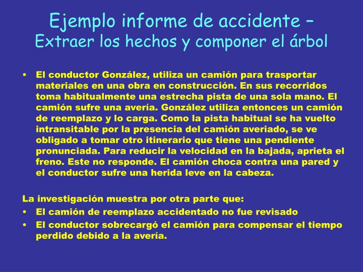 Ejemplo informe de accidente –