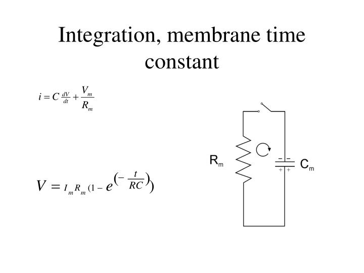 Integration, membrane time constant