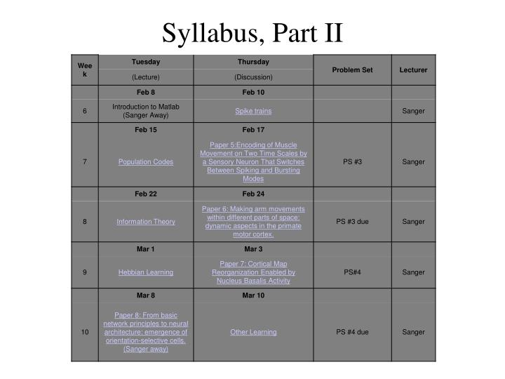 Syllabus, Part II