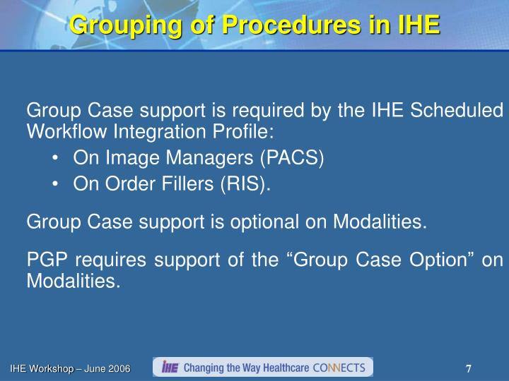Grouping of Procedures in IHE