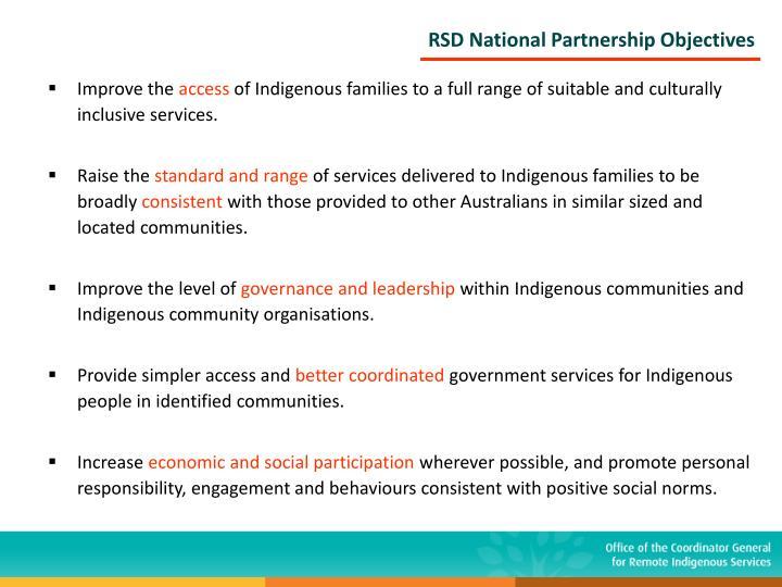 RSD National Partnership Objectives