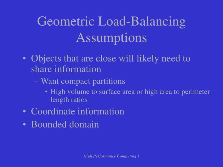 Geometric Load-Balancing Assumptions