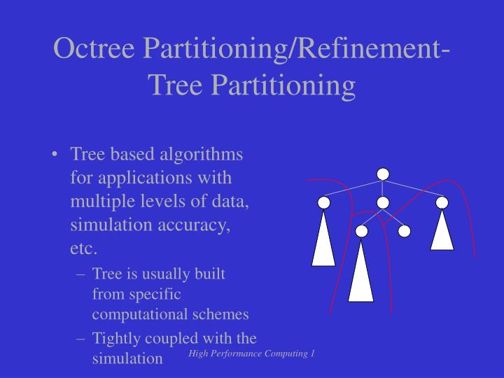 Tree based algorithms for applications with multiple levels of data, simulation accuracy, etc.